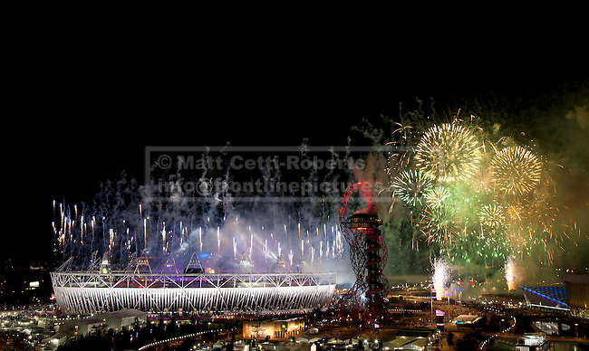 12/08/2012. LONDON, UK. Fireworks are seen over the Olympic Stadium during the closing ceremony of the 2012 Summer Olympics in London today (12/08/12). The Games of the 30th Olympiad today come to a close in London after two weeks of athletics and sports competition carried out by 204 countries from around the world. Photo credit: Matt Cetti-Roberts