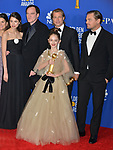 Margaret Qualley, Quentin Tarantino, Brad Pitt, Julia Butters, and Leonardo DiCaprio 144 poses in the press room with awards at the 77th Annual Golden Globe Awards at The Beverly Hilton Hotel on January 05, 2020 in Beverly Hills, California.