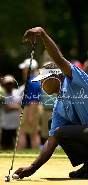 PGA golfer Vijay Singh lines up a putt during the 2008 Wachovia Championships at Quail Hollow Country Club in Charlotte, NC.