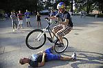 World record holder biker Thomas Oehler biking around UK's campus putting on a show. Photo by Mike Weaver | Staff