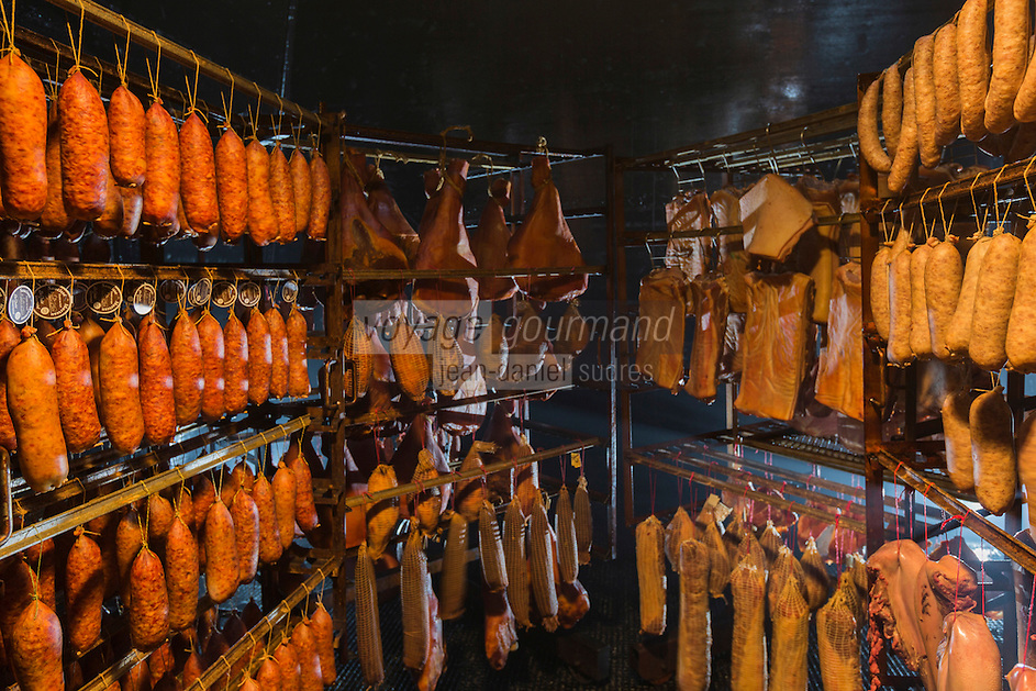 Europe/France/Franche-Comté/25/Doubs/Labergement-Sainte-Marie: Boucherie Paillard - Les salaisons dans le tuyé , salaisons de jambon, lard, saucisses de Morteau mises a fumer et secher dans le tuyé,// France, Doubs, Labergement Sainte Marie, butcher Paillard cured ham, bacon, sausage Morteau put a smoking and drying in the tuye, large traditional fireplace,<br /> Auto N°: 2013-111a
