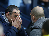 Maurizio Sarri manager of Chelsea with Josep Guardiola manager of Manchester City before kick off during the Premier League match at the Etihad Stadium, Manchester. Picture date: 10th February 2019. Picture credit should read: Andrew Yates/Sportimage/Imago/Insidefoto PUBLICATIONxNOTxINxUK _AY28708.JPG<br /> ITALY ONLY