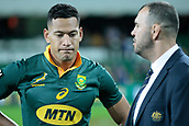9th September 2017, nib Stadium, Perth, Australia; Supersport Rugby Championship, Australia versus South Africa; Israel Folau talks with Australian coach Michael Cheika after the drawn game against the Springboks