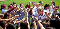 STANFORD, CA - April 2, 2011: The Stanford softball team before Stanford's game against Arizona at Smith Family Stadium. Stanford lost 6-1.