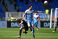 Federico Barba of AC Chievo Verona and Marco Parolo of Lazio compete for the ball during the Serie A 2018/2019 football match between SS Lazio and AC Chievo Verona at stadio Olimpico, Roma, April, 20, 2019 <br /> Photo Antonietta Baldassarre / Insidefoto