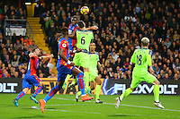 Christian Benteke wins a header from Dejan Lovren during the EPL - Premier League match between Crystal Palace and Liverpool at Selhurst Park, London, England on 29 October 2016. Photo by Steve McCarthy.