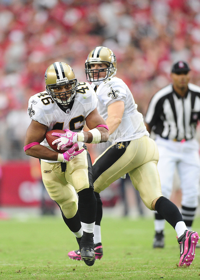 Oct. 10, 2010; Glendale, AZ, USA; New Orleans Saints running back (46) Ladell Betts against the Arizona Cardinals at University of Phoenix Stadium. The Cardinals defeated the Saints 30-20. Mandatory Credit: Mark J. Rebilas-