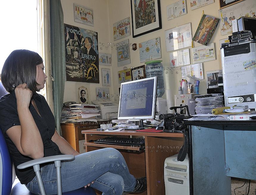 Partinico: the daughter Letizia of the anti-mafia journalist Pino Maniaci, who runs the tv station in Sicily TeleJato<br /> Partinico:Letizia figlia e collaboratrice del giornalista antimafia Pino Maniaci, direttore della emittente televisiva Telejato.