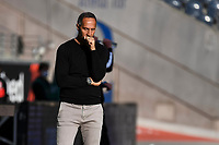 16th May 2020, Commerzbank-Arena, Frankfurt, Germany; Bundesliga football, Eintracht Frankfurt versus Borussia Moenchangladbach;  Trainer Adi Huetter Eintracht Frankfurt looks on nervously