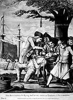 The Bostonian's Paying the Excise-Man, or Tarring & Feathering.  Copy of mezzotint attributed to Philip Dawe, 1774.  (George Washington Bicentennial Commission)<br /> Exact Date Shot Unknown<br /> NARA FILE #:  148-GW-436<br /> WAR & CONFLICT #:  5