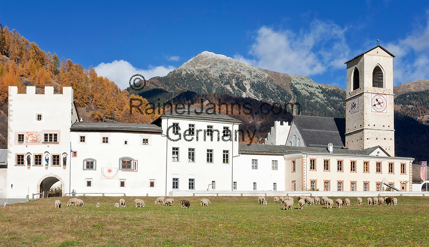 Schweiz, Graubuenden, Muenstertal, Muenster: Benediktinerkloster St. Johann (UNESCO Weltkulturerbe) | Switzerland, Graubuenden, Muenster Valley, Muestair: monastery St. Johann (UNESCO world heritage)