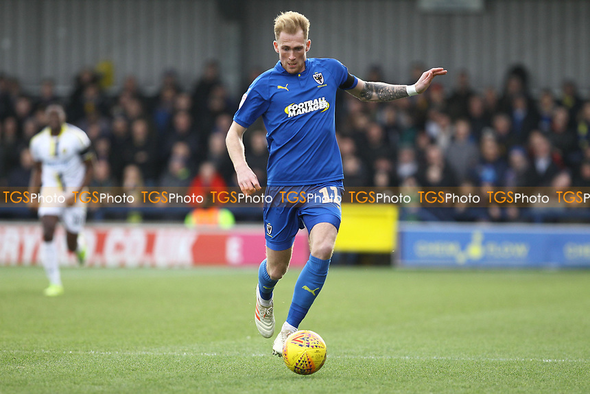 Mitchell Pinnock of AFC Wimbledon during AFC Wimbledon vs Burton Albion, Sky Bet EFL League 1 Football at the Cherry Red Records Stadium on 9th February 2019