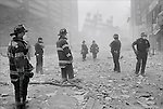 Firemen stand in One Liberty Plaza, after the collapse of both towers. ..2001 © Frank FOURNIER / CONTACT Press Images