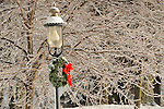 Village gas lamp and Christmas wreath encrusted with ice.