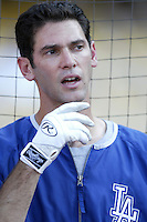 Shawn Green of the Los Angeles Dodgers before a 2002 MLB season game at Dodger Stadium, in Los Angeles, California. (Larry Goren/Four Seam Images)