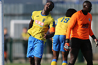 Scott Durojaiye of Haringey rues a miss during Haringey Borough vs Herne Bay, Emirates FA Cup Football at Coles Park Stadium on 7th September 2019