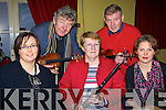 Some of the Musicians from the Seanachi House Entertainers who performed at the recording of Ceili? House for RTE radio 1 on Sunday at the Seancahi Centre Listowel were,  Front l-r.  Marian Brown, Ballyduff, Anne McAuliffe, Castisland and Maura Walsh, Lixnaw.  At the back are Nickie McAuliffe, Castisland and Kerry Banett, Ballyheigue..