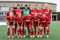 Allston, MA - Sunday, May 1, 2016:  Portland Thorns FC starting eleven in a match against the Boston Breakers at Jordan Field, Harvard University.