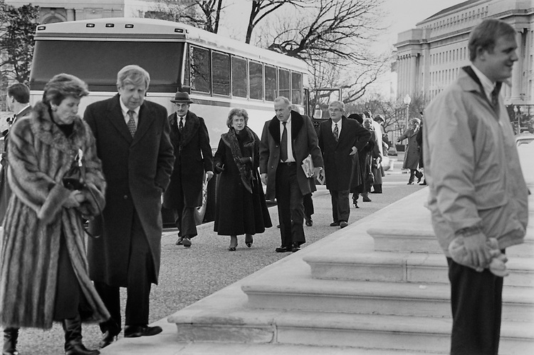 Rep. Marie Corinne Morrison Claiborne Boggs, D-La., Ambassador to the Holy See and Charlie Rose (behind) depart on a bus from the House steps after Tip O'Neill's funeral in Massachusetts. January 13, 1994 (Photo by Laura Patterson/CQ Roll Call)