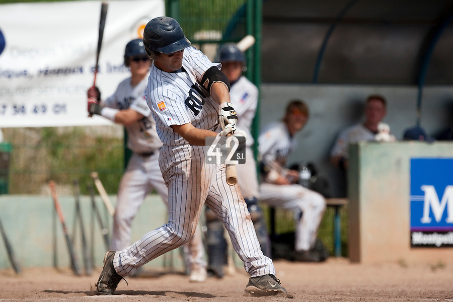 23 May 2009: Dany Scalabrini of Rouen makes contact during the 2009 challenge de France, a tournament with the best French baseball teams - all eight elite league clubs - to determine a spot in the European Cup next year, at Montpellier, France. Rouen wins 6-2 over La Guerche.