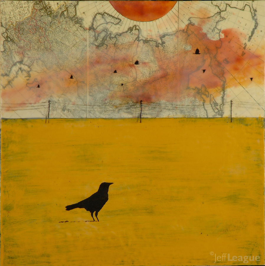 Mixed media encaustic photo painting of crow against orange sky over antique map.