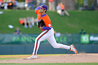 Starting pitcher Jonathan Meyer (28) of the Clemson Tigers in a game against the Furman Paladins on Wednesday, May 8, 2013, at Fluor Field at the West End in Greenville, South Carolina. (Tom Priddy/Four Seam Images)