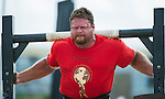 HAINAN ISLAND, CHINA - AUGUST 23:  Mike Burke of USA competes at the Super Yoke event during the World's Strongest Man competition at Serenity Marina on August 23, 2013 in Hainan Island, China.  Photo by Victor Fraile