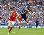 Rob Holding of Arsenal shouts for offside against Eden Hazard of Chelsea during the Emirates FA Cup Final match at Wembley Stadium, London. Picture date: May 27th, 2017.Picture credit should read: David Klein/Sportimage
