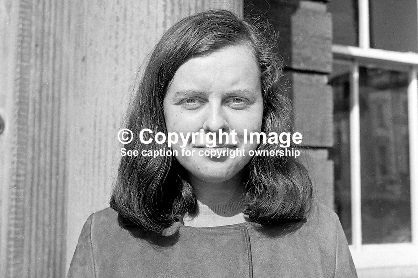 Bernadette Devlin, Unity candidate, Mid-Ulster constituency, UK Parliamentary by-election on 17th April 1969. 196904050146BD2.<br />