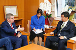 (L-R)   Thomas Bach,  Hirokazu Matsuno,  <br />  OCTOBER 18, 2016 :<br /> International Olympic Committee (IOC) president Thomas Bach meets<br /> Hirokazu Matsuno Minister of Education, Culture, Sports in Tokyo.<br /> (Photo by Sho Tamura/AFLO SPORT)