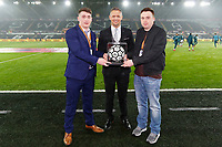 Lee Trundle with match ball sponsors during the Premier League soccer match between Swansea City and Arsenal at the Liberty Stadium, Swansea, Wales, UK. Tuesday 30 January 2018