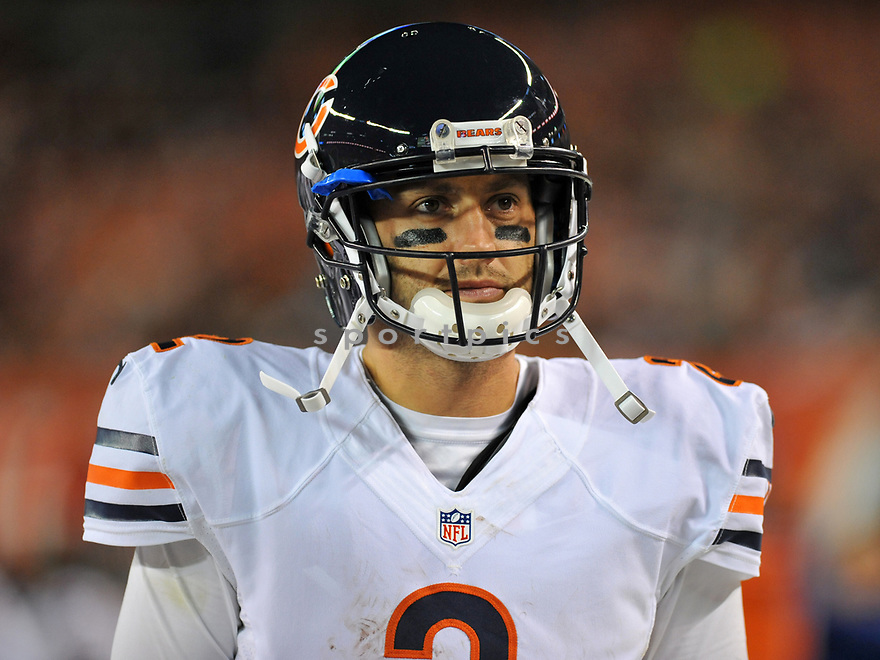 CLEVELAND, OH - SEPTEMBER 1, 2016: Quarterback Brian Hoyer #2 of the Chicago Bears walks along the sideline in the third quarter of a game on September 1, 2016 against the Cleveland Browns at FirstEnergy Stadium in Cleveland, Ohio. Chicago won 21-7. (Photo by: 2016 Nick Cammett/Diamond Images)  *** Local Caption *** Brian Hoyer