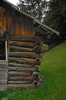 Cow shelter between Wenns and Kaunerberg, Tyrol,Tirol, Austria.