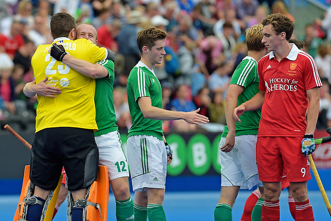 ENG - London, England, August 29: During the men bronze medal match between Ireland (green) and England (red) on August 29, 2015 at Lee Valley Hockey and Tennis Centre, Queen Elizabeth Olympic Park in London, England. Final score 4-2 (2-2). (Photo by Dirk Markgraf / www.265-images.com) *** Local caption *** David FITZGERALD #23 of Ireland, Eugene MAGEE #12 of Ireland