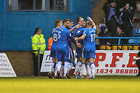 Tom Eaves of Gillingham (2nd right) celebrates after he scores his team's first goal of the game to make the score 1-1 during the Sky Bet League 1 match between Gillingham and Fleetwood Town at the MEMS Priestfield Stadium, Gillingham, England on 27 January 2018. Photo by David Horn.