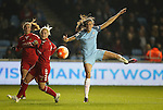 Jill Scott of Manchester City Women has a shot during the Women's Champions League last 16 tie, first leg between Manchester City Women and Brondby IF at the Academy Stadium. <br /> <br /> Photo credit should read: Lynne Cameron/Sportimage