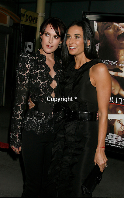 "HOLLYWOOD, CA. - September 03: Rumer Willis and Demi Moore arrive at the Los Angeles premiere of ""Sorority Row"" at the ArcLight Hollywood theater on September 3, 2009 in Hollywood, California."