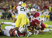 STANFORD, CA - November 7, 2013:  Stanford Cardinal running back Tyler Gaffney (25) scores a touchdown during the Stanford Cardinal vs the Oregon Ducks at Stanford Stadium in Stanford, CA. Final score Stanford Cardinal 26, Oregon Ducks  20.