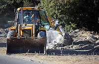 Pictured: A digger operates at the new site in Kos, Greece. Sunday 09 October 2016<br />Re: Police teams led by South Yorkshire Police, searching for missing toddler Ben Needham on the Greek island of Kos have moved to a new area in the field they are searching.<br />Ben, from Sheffield, was 21 months old when he disappeared on 24 July 1991 during a family holiday.<br />Digging has begun at a new site after a fresh line of inquiry suggested he could have been crushed by a digger.