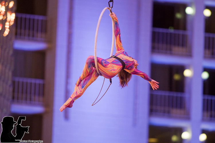 Kat Barker aerial act during Fremont Experience Hippie Nation Bus Ride
