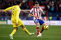 Siqueira of Atletico de Madrid and Mario of Villarreal during La Liga match between Atletico de Madrid and Villarreal at Vicente Calderon stadium in Madrid, Spain. December 14, 2014. (ALTERPHOTOS/Caro Marin) /NortePhoto