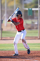 Sammy Leyba (46), from Odessa, Texas, while playing for the Red Sox during the Under Armour Baseball Factory Recruiting Classic at Gene Autry Park on December 30, 2017 in Mesa, Arizona. (Zachary Lucy/Four Seam Images)