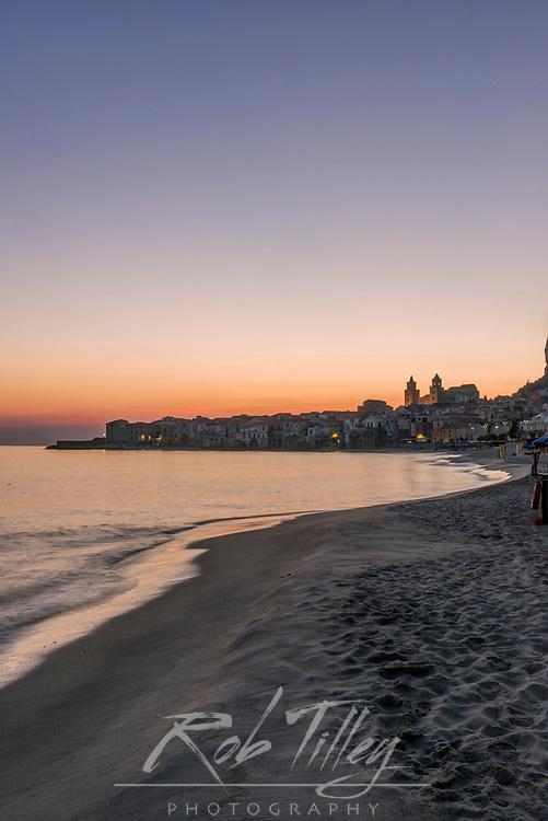 Europe, Italy, Sicily, Cefalu, Cefalu Beach at Dawn