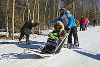 Matt Failor and team run past spectators on the bike/ski trail during the Anchorage ceremonial start during the 2014 Iditarod race.<br /> Photo by Britt Coon/IditarodPhotos.com
