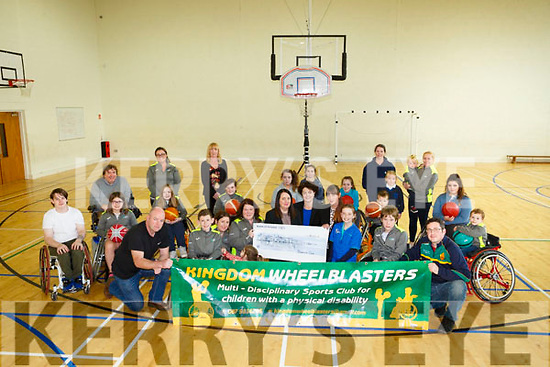 Kingdom Wheelblasters was presented with a cheque for €1500 from Bluebird Care at the Mitchel's sports complex on Thursday This will buy 2 new sports Wheelchairs