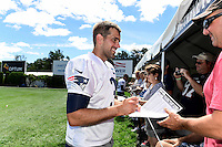 Wednesday, August 17, 2016: New England Patriots kicker Stephen Gostkowski (3) signs an autograph for a fan at a joint training camp session between the Chicago Bears and the New England Patriots held at Gillette Stadium in Foxborough Massachusetts. Eric Canha/CSM