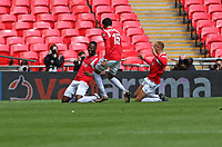 Mani Dieseruvwe of Salford City celebrating during AFC Fylde vs Salford City, Vanarama National League Play-Off Final Football at Wembley Stadium on 11th May 2019