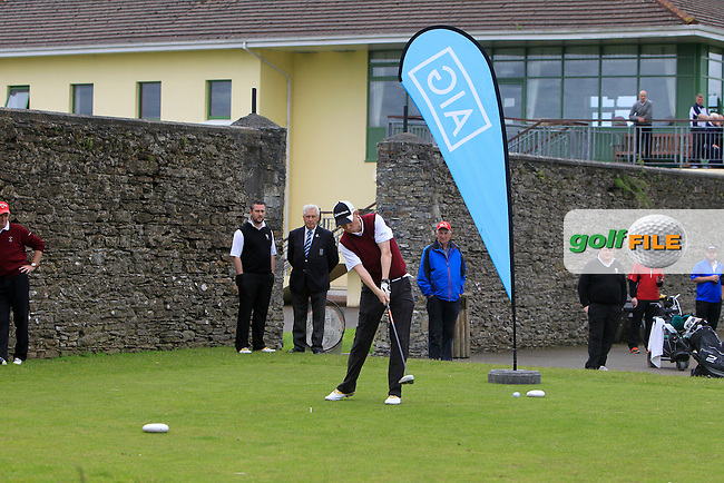 John Enright (Ballybunion) on the 1st tee during the Final round of the Munster section of the AIG Jimmy Bruen Shield at East Clare Golf Club on Sunday 19th July 2015.<br /> Picture:  Golffile | Thos Caffrey