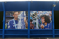 A large poster size image of Manchester United's Nemanja Matic, formerly of Chelsea on the surrounding wall outside the ground celebrates winning the Premier League with Chelsea during Chelsea vs Manchester United, Premier League Football at Stamford Bridge on 5th November 2017