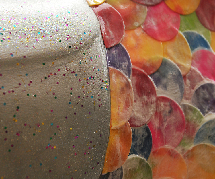 """A view of """"Confetti"""" created by, Rena Jacobs, at 12 Market Street, one of the """"Rockin' Around Saugerties"""" theme Statues on display throughout the Village of Saugerties, NY, on Friday, June 9, 2017. Photo by Jim Peppler. Copyright/Jim Peppler-2017."""